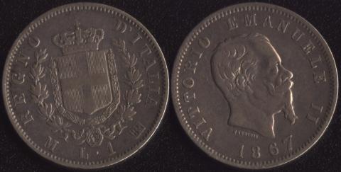 Италия 1 лира 1867