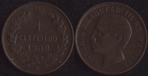 Италия 1 чентезимо 1908