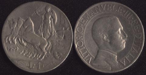 Италия 1 лира 1909