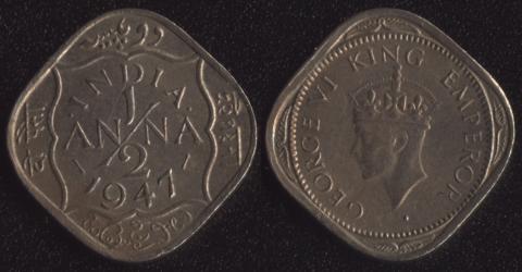Индия Британская 1/2 анны 1947