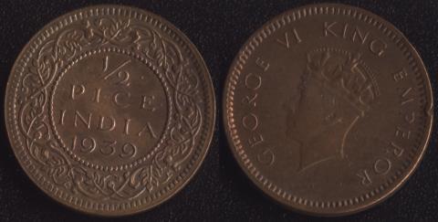 Индия Британская 1/2 пайса 1939 (1 тип)