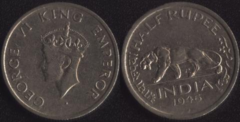 Индия Британская 1/2 рупии 1946