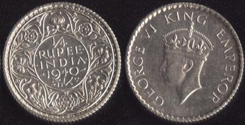 Индия Британская 1/4 рупии 1940 (второй портрет)