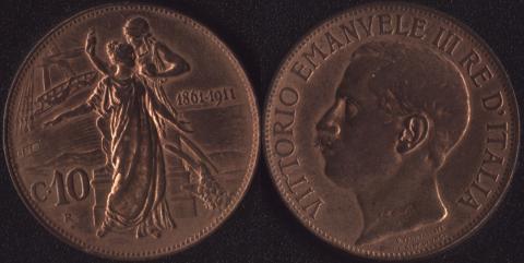 Италия 10 чентезимо 1911