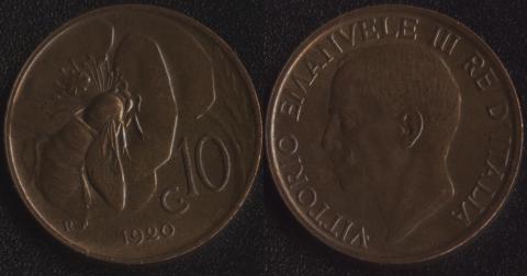 Италия 10 чентезимо 1920
