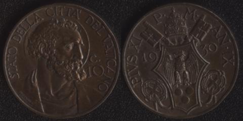 Ватикан 10 чентезими 1930