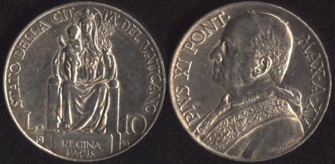 Ватикан 10 лир 1936