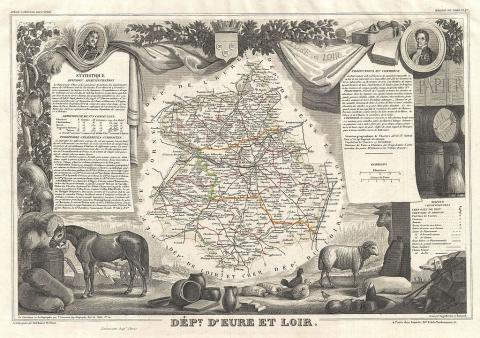Карта департамента Эр-и-Луар. Гравюра 1852 года.