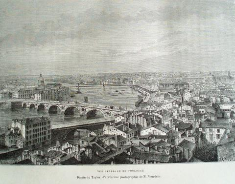 Общий вид Тулузы. Рисунок по фотографии 1877 года.
