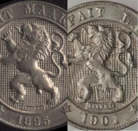 Сравнение штемпелей Бельгия 5 сантим 1895 и 1901 года