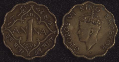 Индия Британская 1 анна 1942