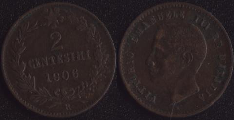 Италия 2 чентезимо 1906