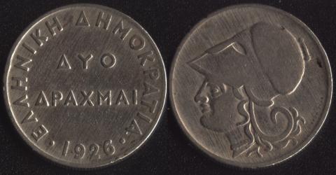 Греция 2 драхмы 1926