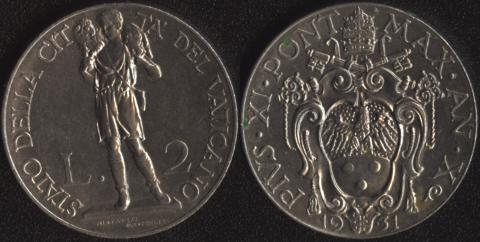 Ватикан 2 лиры 1931