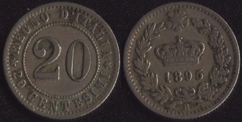 Италия 20 чентезимо 1895