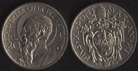 Ватикан 20 чентезими 1932