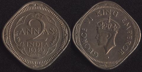 Индия Британская 2 анны 1946