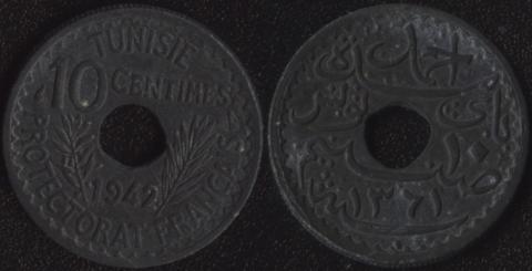 Тунис 10 сантим 1942