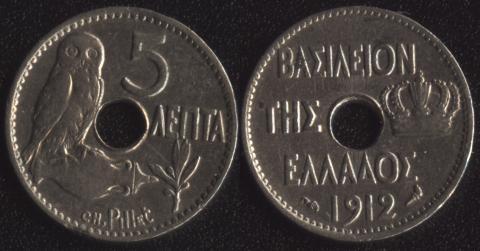 Греция 5 лепта 1912