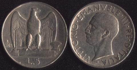 Италия 5 лир 1928