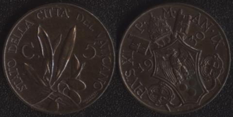 Ватикан 5 чентезими 1930