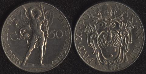 Ватикан 50 чентезими 1934