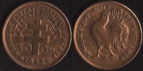 Французская Экваториальная Африка 50 сантим 1943