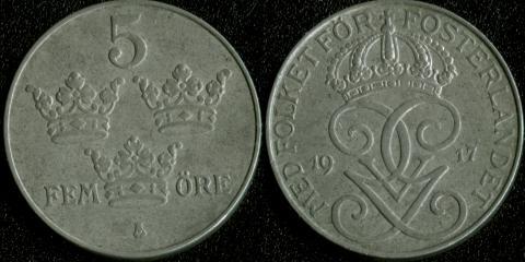 Швеция 5 оре эре 1917