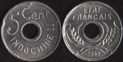 Французский Индокитай 5 центов 1943