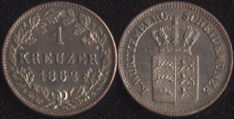 Вюртемберг 1 крейцер 1862