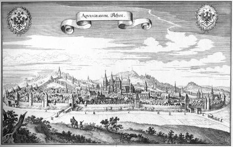 Вид на город. Гравюра Матиуса Мериана, 1647 год.