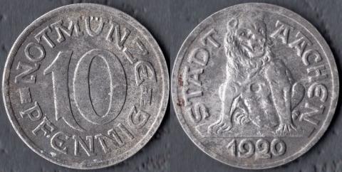 Аахен 10 пфеннигов 1920 (пёс)