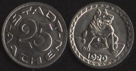Ахен 25 пфеннигов 1920