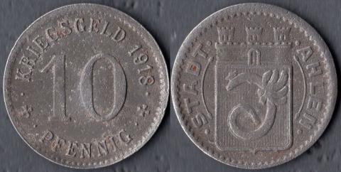 Ахлен 10 пфеннигов 1918