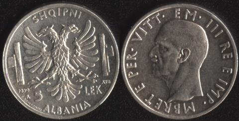 Албания 5 лек 1939