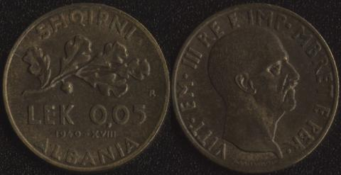 Албания 0.05 лека 1940