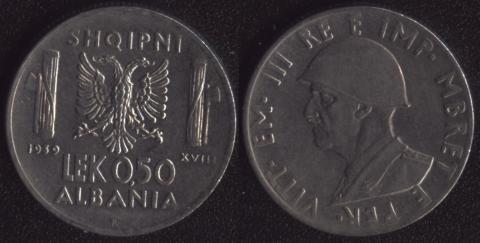 Албания 0.50 лека 1939