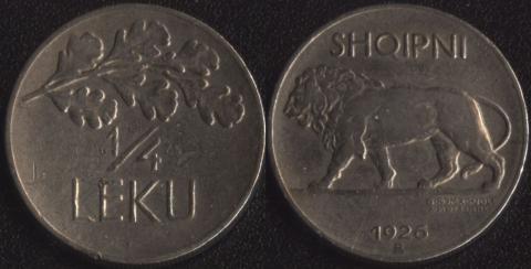 Албания 1/4 лека 1926