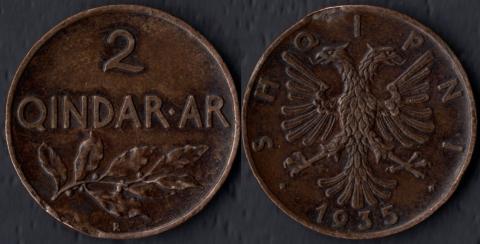 Албания 2 киндар ар 1935