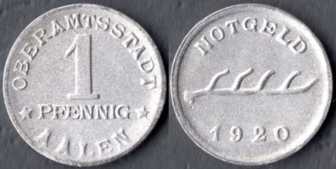 Ален 1 пфенниг 1920