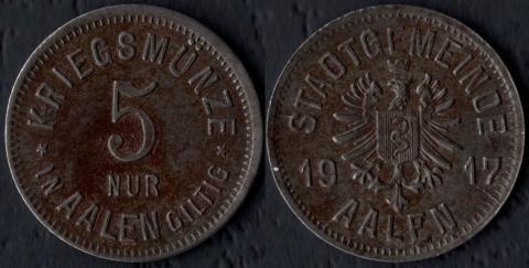Ален 5 пфеннигов 1917