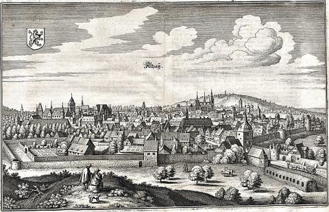 Вид на город. Гравюра Мериана 1645 год.