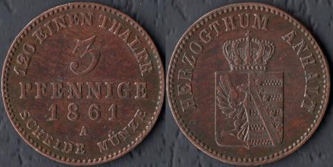Ангальт 3 пфеннига 1861