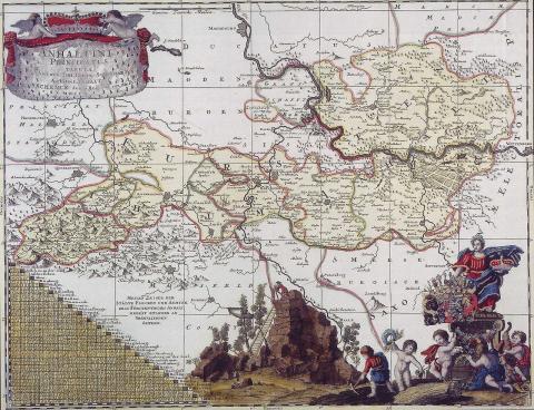 Карта Герцогства Анхальт, 1710 год.