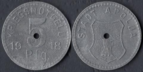 Апольда 5 пфеннигов 1918