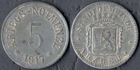 Арцберг 5 пфеннигов 1917