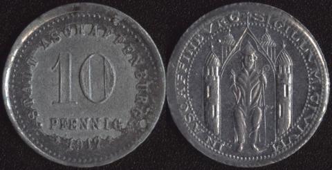 Ашаффенбург 10 пфеннигов 1917
