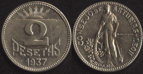 Астурия и Леон 2 песеты 1937
