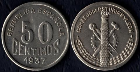 Астурия и Леон 50 сентимос 1937