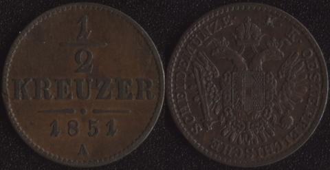 Австрия 1/2 крейцера 1851